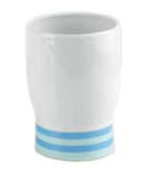 Niers K-34428 для зубных щеток БелыйАксессуары для ванной<br>Стакан для зубных щеток в ванную от немецкого бренда WasserKraft в эксклюзивной коллекции Niers.<br>Коллекция выполнена из белоснежного фарфора с нежно-голубыми полосами. <br>Материал:  фарфор, глазурь<br>Изделие обладает высокой механической прочностью и стойкостью к внешним химическим и температурным воздействиям. <br>