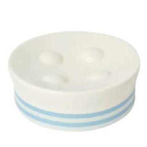 Niers K-34429 БелаяАксессуары для ванной<br>Мыльница в ванную от немецкого бренда WasserKraft в эксклюзивной коллекции Niers.<br>Коллекция выполнена из белоснежного фарфора с нежно-голубыми полосами. <br>Материал:  фарфор, глазурь<br>Изделие обладает высокой механической прочностью и стойкостью к внешним химическим и температурным воздействиям. <br>