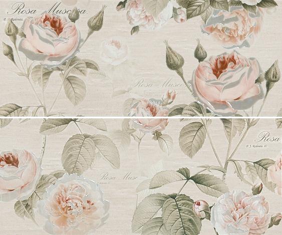 Керамическое панно Gracia Ceramica Garden Rose beige panno 01 50x60 см 02 beige rose