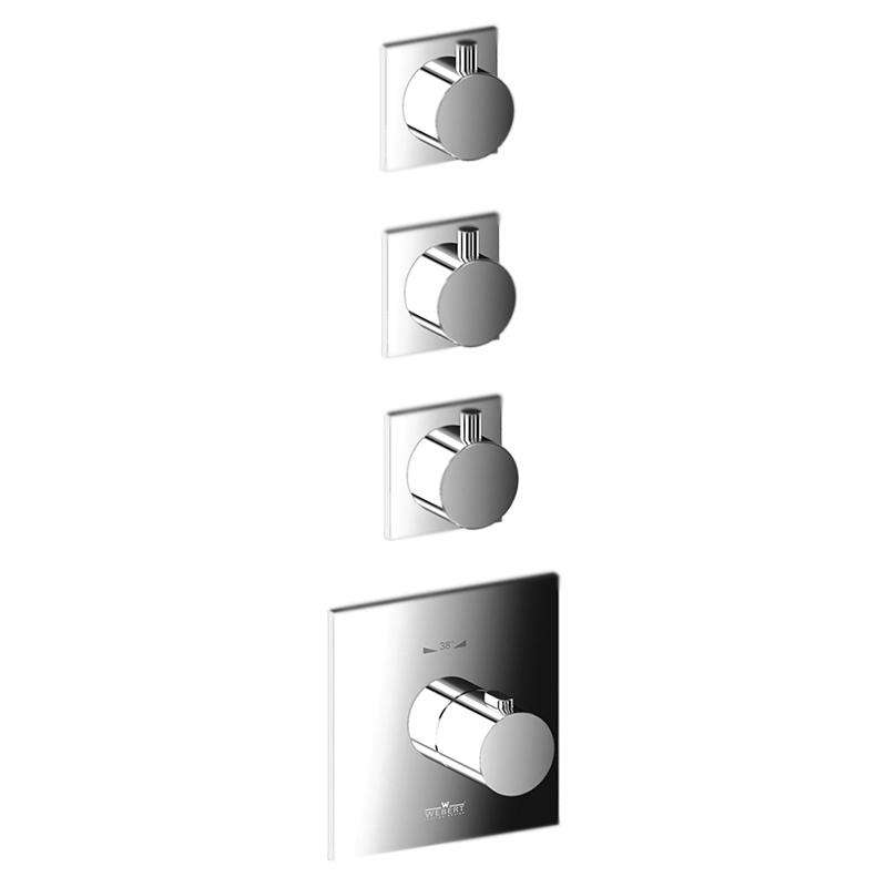 Elio EL971502 ХромСмесители<br>Встраиваемый термостат для ванны Webert Elio EL971502015 на три потока, в комплекте с внутренней частью и монтажной шиной (планкой).<br><br>Покрытие: глянцевый хром.<br>Материал: качественная латунь с минимальным процентом свинца: <br>Защита от царапин, влаги и воздействия окружающей среды.<br>С защитой хромированных частей во время установки.<br>Состав материала соответствует международным нормам.<br>Стопор безопасной температуры 38 С°.<br>Стандарт подключения G3/4.<br><br>