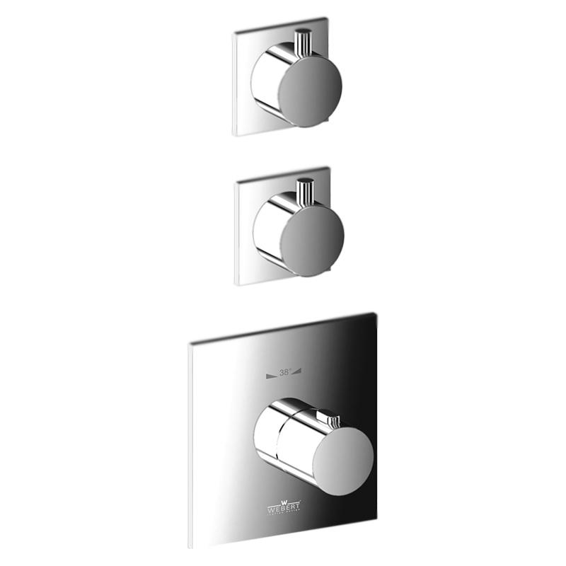 Elio EL971402 Хром глянцевыйСмесители<br>Встраиваемый термостат для ванны Webert Elio EL971402015 на два потока, в комплекте с внутренней частью и монтажной шиной (планкой).<br><br>Покрытие: глянцевый хром.<br>Материал: качественная латунь с минимальным процентом свинца: &amp;lt;0.2%.<br>Защита от царапин, влаги и воздействия окружающей среды.<br>С защитой хромированных частей во время установки.<br>Состав материала соответствует международным нормам.<br>Стопор безопасной температуры 38 С°.<br>Стандарт подключения G3/4.<br><br>