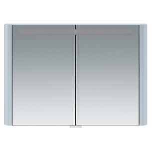 Зеркальный шкаф AM.PM Sensation 100 с подсветкой небесно-голубой глянцевый зеркальный шкаф am pm sensation 80 петли слева белый глянцевый