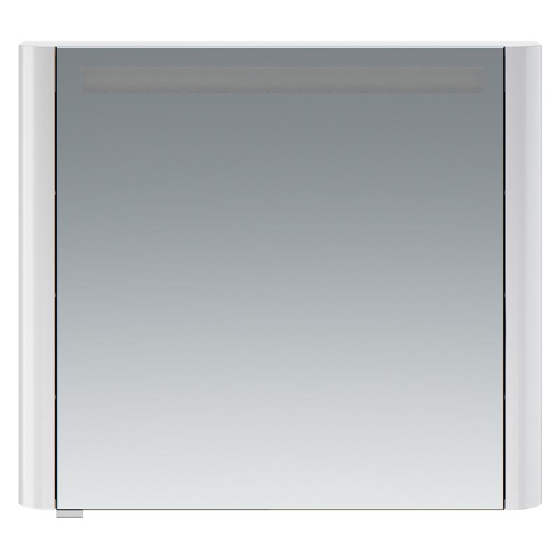 Sensation 80 петли справа небесно-голубой глянцевыйМебель для ванной<br>Правосторонний зеркальный шкаф в ванную AM PM Sensation 80 M30MCR0801BG с одной распашной дверцей и двумя полками за ней, с подсветкой сверху, с розеткой и выключателем.<br><br>Материал: МДФ/стекло.<br>Высокоглянцевая поверхность корпуса.<br>Петли оснащены доводчиками для плавного закрывания.<br>Размеры: Ш800xГ150xВ700 мм.<br>LED 16W/12V/IP44.<br><br>