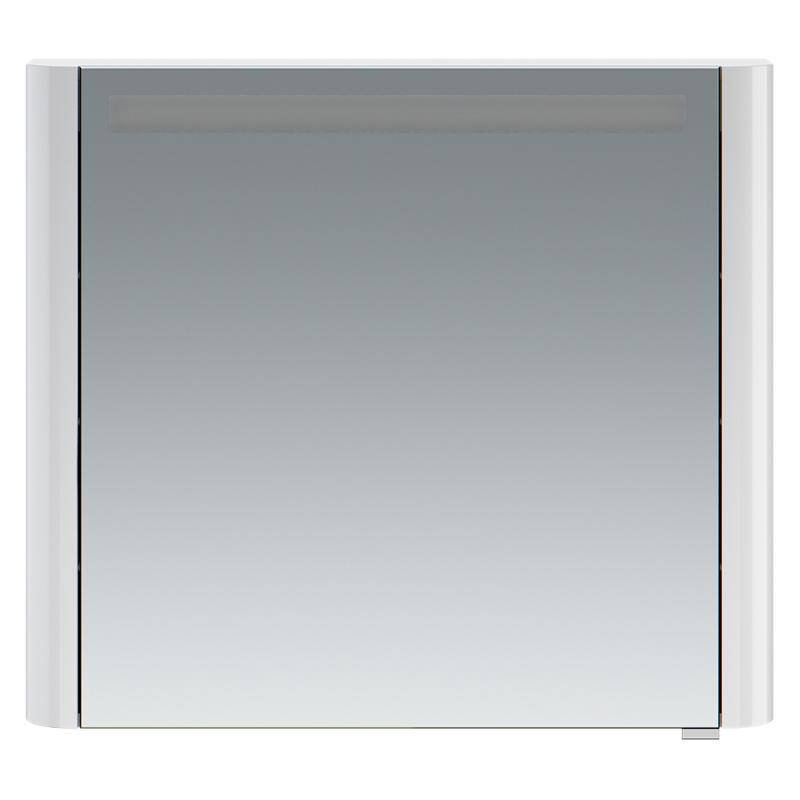 Sensation 80 петли слева небесно-голубой глянцевыйМебель для ванной<br>Левосторонний зеркальный шкаф в ванную AM PM Sensation 80 M30MCL0801BG с одной распашной дверцей и двумя полками за ней, с подсветкой сверху, с розеткой и выключателем.<br><br>Материал: МДФ/стекло.<br>Высокоглянцевая поверхность корпуса.<br>Петли оснащены доводчиками для плавного закрывания.<br>Размеры: Ш800xГ150xВ700 мм.<br>LED 16W/12V/IP44.<br><br>