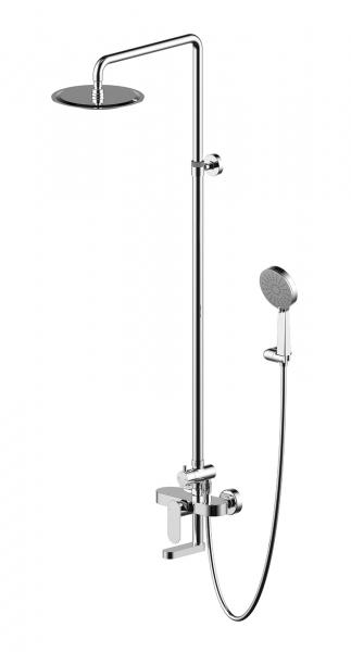 Gina F665104C-A ХромДушевые системы<br>Душевая система Bravat Gina F665104C-A.<br>Дизайн: современный стиль. <br>Материал: ABS пластик / латунь.<br>Высота: 144,7 см<br>Габариты верхнего душа: 25 см. <br>Габариты лейки: 12 см. <br>Длина штанги: 92,2 см. <br>Расход воды: верхний душ - 12 л/мин, ручной душ - 8 л/мин, излив - 15 л/мин.<br> В наборе комплекта:  <br> смеситель, <br>штанга, <br>шланг 150 см, <br> верхнего душ, <br> лейка, <br>цвет изделия серый, хром. <br>