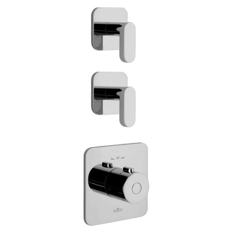 Living LV971402 ХромСмесители<br>Встраиваемый термостат для ванны Webert Living LV971402015 на два потока, в комплекте с внутренней частью и монтажной шиной (планкой).<br><br>Покрытие: глянцевый хром.<br>Материал: качественная латунь с минимальным процентом свинца: &lt;0.2%.<br>Защита от царапин, влаги и воздействия окружающей среды.<br>С защитой хромированных частей во время установки.<br>Состав материала соответствует международным нормам.<br>Увеличенная пропускная способность.<br>Стопор безопасной температуры 38 С°.<br>Стандарт подключения G3/4.<br><br>