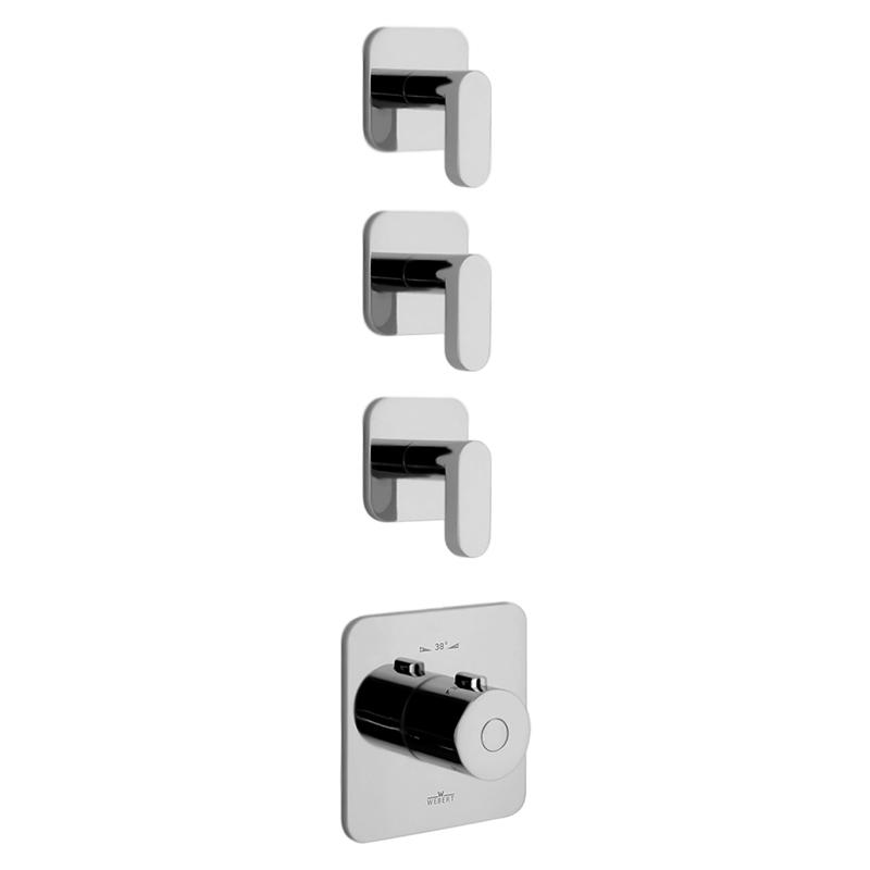 Living LV971502 ХромСмесители<br>Встраиваемый термостат для ванны Webert Living LV971502015 на три потока, в комплекте с внутренней частью и монтажной шиной (планкой).<br><br>Покрытие: глянцевый хром.<br>Материал: качественная латунь с минимальным процентом свинца: <br>Защита от царапин, влаги и воздействия окружающей среды.<br>С защитой хромированных частей во время установки.<br>Состав материала соответствует международным нормам.<br>Увеличенная пропускная способность.<br>Стопор безопасной температуры 38 С°.<br>Стандарт подключения G3/4.<br><br>