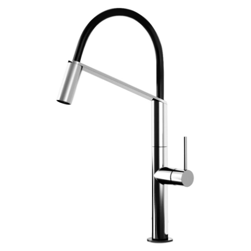 Kitchen Oblique Pro OB920602 Хром ЧерныйСмесители<br>Высокий смеситель для кухни Webert Kitchen Oblique Pro OB920602015 однорычажный, устанавливаемый в одно отверстие, с гибким, съемным изливом. Трехкомпозитный состав излива: термопластик, нержавеющая сталь, PVC. Внутренний канал излива из термопластика выдерживает температуру до 120С°.<br><br>Цвет: глянцевый хром/черный.<br>Материал корпуса: качественная латунь.<br>Защита от царапин, влаги и воздействия окружающей среды.<br>Состав материала соответствует международным нормам.<br>Поворотный излив: 360°.<br>Длина излива: 22 см.<br>Один режим струи.<br>Высота смесителя: 47,5 см.<br>Керамический картридж 25 мм.<br>Гибкая подводка G1/2 из нержавеющей стали длиной 37 см.<br><br>