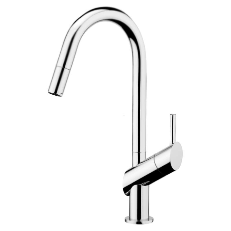 Kitchen Habitat HB940302 ХромСмесители<br>Высокий смеситель для кухни Webert Kitchen Habitat HB940302015 однорычажный, устанавливаемый в одно отверстие, с выдвижным изливом.<br><br>Покрытие: глянцевый хром.<br>Материал корпуса: качественная латунь.<br>Защита от царапин, влаги и воздействия окружающей среды.<br>Состав материала соответствует международным нормам.<br>Поворотный излив: 360°.<br>Длина излива: 19,7 см.<br>Высота смесителя: 26,5 см.<br>Керамический картридж 35 мм.<br>Картридж оснащен механизмом контроля потока воды и температуры.<br>Механическая настройка эксплуатационных параметров.<br>Гибкая подводка G1/2 из нержавеющей стали длиной 37 см.<br><br>