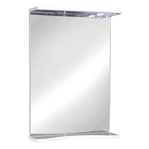 Ксения 50 БелоеМебель для ванной<br>Зеркало с козырьком и нижней полкой. Имеет шкаф оборудованный трансформатором мощностью 60 Вт для подключения галогенных светильников со скрытым подключением электропровода, выключателем и розеткой.<br>