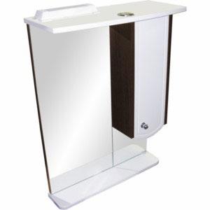 Аликанте 60 Венге-белыйМебель для ванной<br>Зеркальный шкаф Руно Аликанте. Зеркало с козырьком и нижней полкой, закрытое отделение сбоку (справа). Шкаф оборудован трансформатором мощностью 60 Вт для подключения галогенных светильников со скрытым подключением электропровода, выключателем и розеткой.<br>