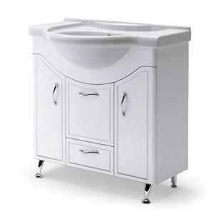 Севилья 85 БелаяМебель для ванной<br>Тумба Руно Севилья. Имеет : 2 дверцы, 2 ящика. Раковина Дрея приобретается отдельно.<br>