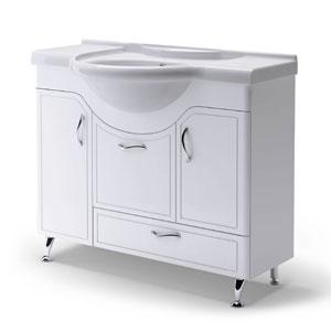 Севилья 105 БелаяМебель для ванной<br>Тумба Руно Севилья. Имеет : 2 дверцы, 2 ящика. Раковина Дрея приобретается отдельно.<br>
