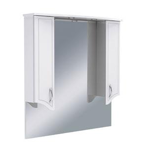 Севилья 105 БелыйМебель для ванной<br>Зеркало Руно Севилья с козырьком и нижней полкой, два закрытых отделения по бокам. Шкаф оборудован трансформатором мощностью 60 Вт для подключения галогенных светильников со скрытым подключением электропровода, выключателем и розеткой.<br>