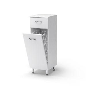 Универсал 40 с корзиной БелыйМебель для ванной<br>Полу-пенал Руно Универсальный. Имеет выдвижной ящик, закрытое отделение с одной дверцей, корзину для белья.<br>