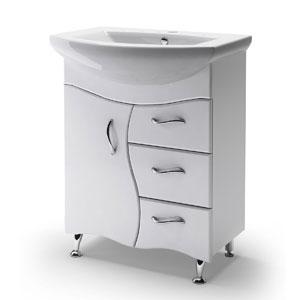 Бриз 65 БелаяМебель для ванной<br>Тумба Руно Бриз. Имеет 1 дверку и 3 ящика. Раковина Элегант приобретается отдельно.<br>