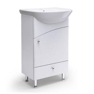 Уют 50 с изгибом БелаяМебель для ванной<br>Тумба Руно Уют. Имеет фасад с изгибом, 2 ящика. Цена указана за тумбу. Раковина Уют приобретается отдельно.<br>