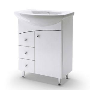 Элегант 65 с 3мя ящиками БелаяМебель для ванной<br>Тумба Руно Элегант с 3мя ящиками. Цена указана за тумбу. Раковина Элегант приобретается отдельно.<br>