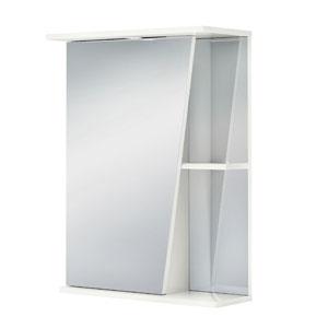Астра 55 БелыйМебель для ванной<br>Зеркальный шкаф Руно Астра. Имеет закрытое отделение с одной дверцей, внешние полки. Возможно исполнение как с правой, так и с левой стороны.<br>