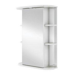 Гиро 60 БелыйМебель для ванной<br>Зеркальный шкаф Руно Гиро. Имеет закрытое отделение с одной дверцей, два внешних отделения по бокам, с полками. Шкаф оборудован трансформатором мощностью 60 Вт для подключения галогенных светильников со скрытым подключением электропровода, выключателем и розеткой.<br>