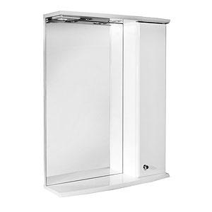 Ирис 60  БелыйМебель для ванной<br>Зеркальный шкаф Руно Ирис. Имеет зеркало с козырьком и нижней полкой, закрытое отделение сбоку (справа). Шкаф оборудован трансформатором мощностью 60 Вт для подключения галогенных светильников со скрытым подключением электропровода, выключателем и розеткой.<br>