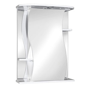Лилия 55 БелыйМебель для ванной<br>Зеркальный шкаф Руно Лилия. Имеет закрытое отделение с изогнутой по краям дверцей, по бокам внешние полки. Шкаф оборудован трансформатором мощностью 60 Вт для подключения галогенных светильников со скрытым подключением электропровода, выключателем и розеткой.<br>