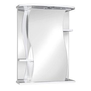 Лилия 60 БелыйМебель для ванной<br>Зеркальный шкаф Руно Лилия. Имеет закрытое отделение с изогнутой по краям дверцей, по бокам внешние полки. Шкаф оборудован трансформатором мощностью 60 Вт для подключения галогенных светильников со скрытым подключением электропровода, выключателем и розеткой.<br>