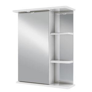 Магнолия 50 БелыйМебель для ванной<br>Зеркальный шкаф Руно Магнолия. Имеет закрытое отделение с одной дверцей (слева), сбоку три внешние полки, прямые линии. Шкаф оборудован трансформатором мощностью 60 Вт для подключения галогенных светильников со скрытым подключением электропровода, выключателем и розеткой.<br>