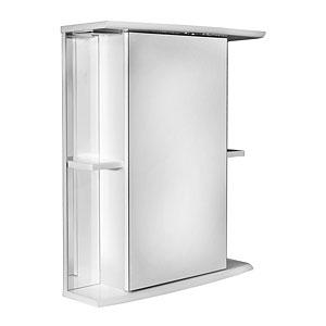 Мадрид 60  БелыйМебель для ванной<br>Зеркальный шкаф Руно Мадрид. Имеет закрытое отделение с одной дверцей, два внешних отделения с двумя полками. Шкаф оборудован трансформатором мощностью 60 Вт для подключения галогенных светильников со скрытым подключением электропровода, выключателем и розеткой.<br>