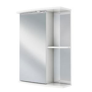 Николь 55 БелыйМебель для ванной<br>Зеркальный шкаф Руно Николь. Имеет закрытое отделение с одной дверцей (слева), сбоку — внешние полки, прямые линии. Шкаф оборудован трансформатором мощностью 60 Вт для подключения галогенных светильников со скрытым подключением электропровода, выключателем и розеткой.<br>