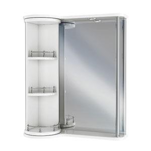 Секрет 65 БелыйМебель для ванной<br>Зеркальный шкаф Руно Секрет. Имеет вращающееся зеркальное отделение (левый). Шкаф оборудован трансформатором мощностью 60 Вт для подключения галогенных светильников со скрытым подключением электропровода, выключателем и розеткой.<br>