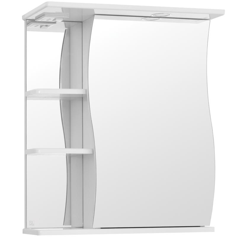 Зеркальный шкаф Style Line Эко Волна 60 С с подсветкой Белый глянец зеркальный шкаф style line эко волна лорена 55 с с подсветкой белый глянец
