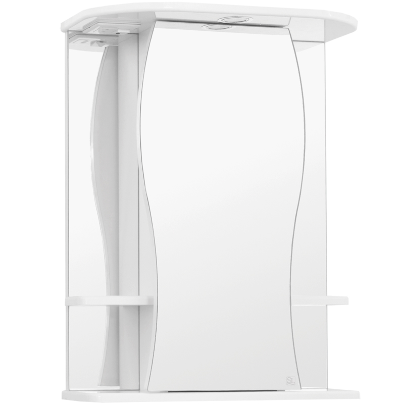 Зеркальный шкаф Style Line Эко волна Лорена 55 С с подсветкой Белый глянец зеркальный шкаф style line эко волна лорена 55 с с подсветкой белый глянец