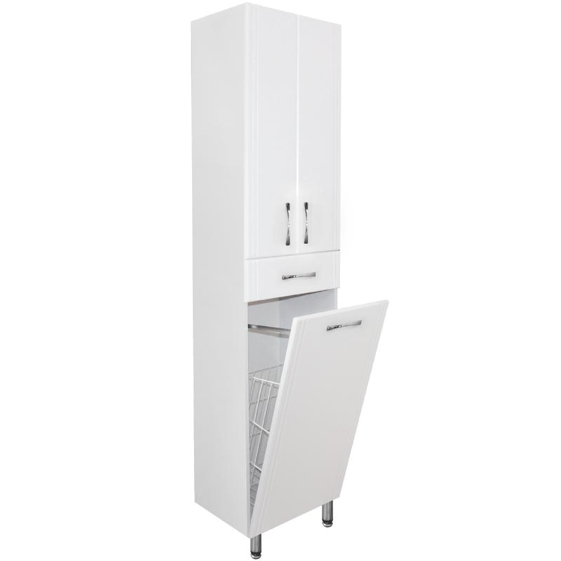 Шкаф пенал Style Line Эко Стандарт 48 с бельевой корзиной Белый глянец шкаф пенал style line эко стандарт 54 с бельевой корзиной белый