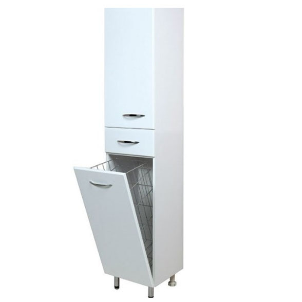 Модерн 40.17 Белый, левыйМебель для ванной<br>Напольный пенал Onika Модерн 40.17 с одним выдвижным ящиком, одной распашной и одной откидной дверцами. В нижней секции — бельевая корзина.<br>
