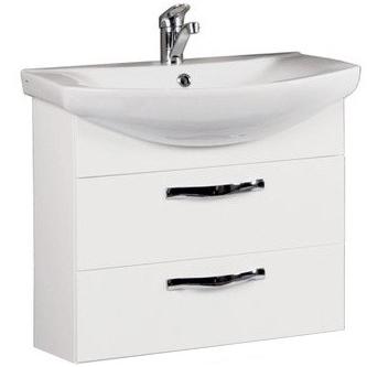 Ария 65 М Белая глянцеваяМебель для ванной<br>Тумба под раковину Акватон Ария 65 М 1A123301AA010.<br>Вместительная и лаконичная модель..<br>Особенности:<br>С двумя выдвижными ящиками, шариковыми направляющими и усиленными навесами.<br>Организовано нижнее подключение труб водоснабжения и канализации. <br>Материал корпуса: ДСП с ламинированным покрытием. Этот материал обладает повышенной влагостойкостью и сопротивляемостью износу. <br>Материал фасандых деталей: МДФ с пятислойной покраской.<br>