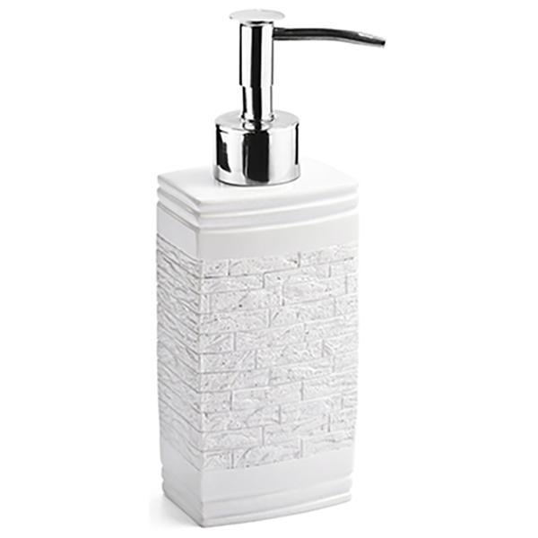 Main K-4799 БелыйАксессуары для ванной<br>Дозатор для жидкого мыла Wasser Kraft Main K-4728 выполнен в урбанистическом стиле. Фактура, имитирующая кирпичную вкладку, идеально сочетается с глянцевой и гладкой поверхностью. Изделие отлично подойдет тем, кто предпочитает смелые решения в интерьере. <br>Размер: высота: 19 см, длина: 6,4 см, ширина: 5,1 см. <br>Материал: полирезин (полистоун) - это высококачественный минерально-полимерный материал, прочный и водонепроницаемый. Изделия из полирезина предназначены для помещений с высокой влажностью и резкими перепадами температур. Носик дозатора выполнен из сплава металлов. <br>Изделие отшлифовано и окрашено вручную.<br>