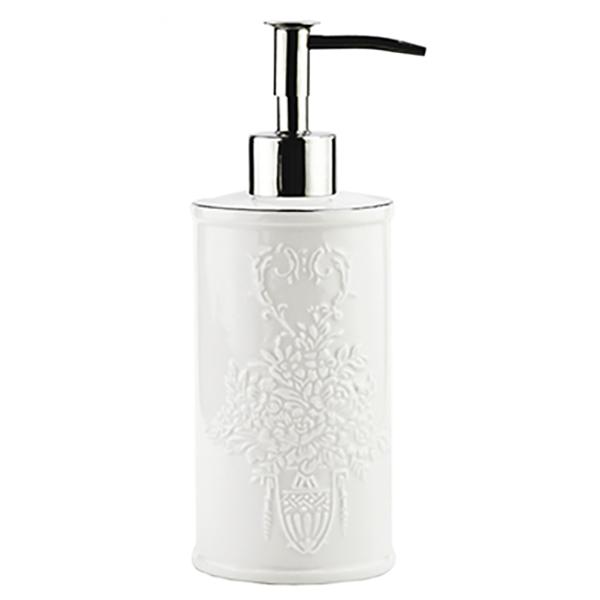 Rossel K-5799 БелыйАксессуары для ванной<br>Белоснежный фарфоровый дозатор для жидкого мыла Wasser Kraft Rossel K-5799 украшен изящным цветочным узором. Такой аксессуар наполнит вашу ванную комнату свежестью и сиянием.<br>Размеры: диаметр: 7.2 см, высота: 19.2 см.<br>Материал: фарфор. Это благородная керамика, произведенная путем запекания при высокой температуре; после запекания на поверхность обязательно наносится глазурь. Изделия из фарфора обладают высокой прочностью, водонепроницаемостью, химической и термической стойкостью.Носик дозатора выполнен из высококачественного сплава металлов, не подвержен коррозии. Имеет мягкий и плавный ход. За одно нажатие дозатор отмеряет 0,7-1 мл моющего средства.<br>