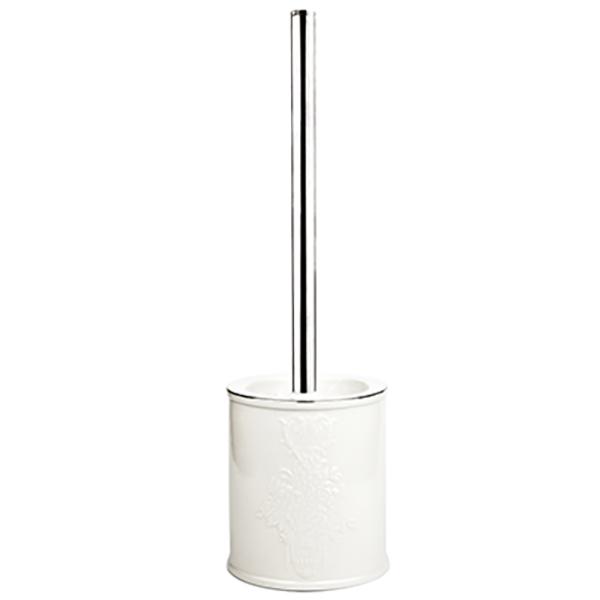 Rossel K-5727 БелыйАксессуары для ванной<br>Белоснежный фарфоровый ершик для унитаза Wasser Kraft Rossel K-5727 украшен изящным цветочным узором. Такой аксессуар  наполнит вашу ванную комнату свежестью и сиянием.<br>Размеры: диаметр: 10,1 см, высота: 36,5 см.<br>Материал: фарфор. Это благородная керамика, произведенная путем запекания при высокой температуре; после запекания на поверхность обязательно наносится глазурь. Изделия из фарфора обладают высокой прочностью, водонепроницаемостью, химической и термической стойкостью.<br>