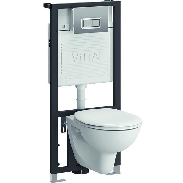 Arkitekt 9005B003-7211 с сиденьем и кнопкой смыва ХромУнитазы<br>Комплект унитаза с инсталляцией Vitra Arkitekt 9005B003-7211. <br>Лаконичный и универсальный дизайн этой модели прекрасно впишется в интерьер любого санузла.<br>Особенности: <br>Подвесной унитаз повышенной прочности: выдерживает нагрузку до 400 кг,<br>Низкий уровень шума благодаря механизму нижней подачи воды, <br>Унитаз изготовлен из сантехнического фарфора. Этот материал не впитывает грязь и сохраняет белизну долгие годы.<br>В комплекте поставки: <br>Чаша унитаза,<br>Крышка-сиденье стандарт.<br>Монтажная рама<br>Бачок 3/6 л,<br>Хромированная кнопка смыва,<br><br>