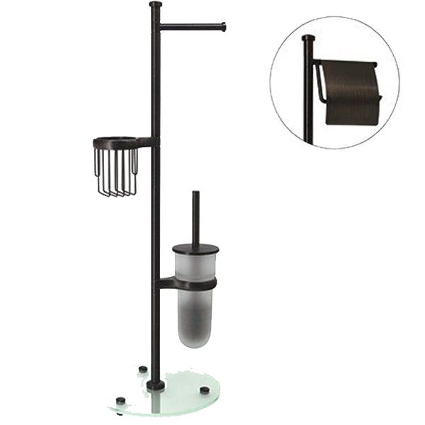Isar K-1246 БронзаАксессуары для ванной<br>Стойка Wasser Kraft Isar K-1246 для ванной комнаты.<br>На стойке имеется держатель для туалетной бумаги, держатель для освежителя воздуха и ершик для унитаза.<br>Материал: металл, матовое стекло.<br>Размер: 29,3x28x83,3 см.<br>Особенности:<br>Простой монтаж благодаря встроенным винтам и внутренней резьбе. Пластиковые уплотнители обеспечивают плотное соединение металла.<br>Держатели для каждого изделия поворачиваются на 180 градусов. Размещение держателей возможно в любом порядке.<br>Съемная колба для ершика для легкого ухода за изделием. Между держателем и колбой расположена уплотнительная прокладка.<br>Регулируемые по высоте ножки, позволяющие компенсировать неровности пола.<br>