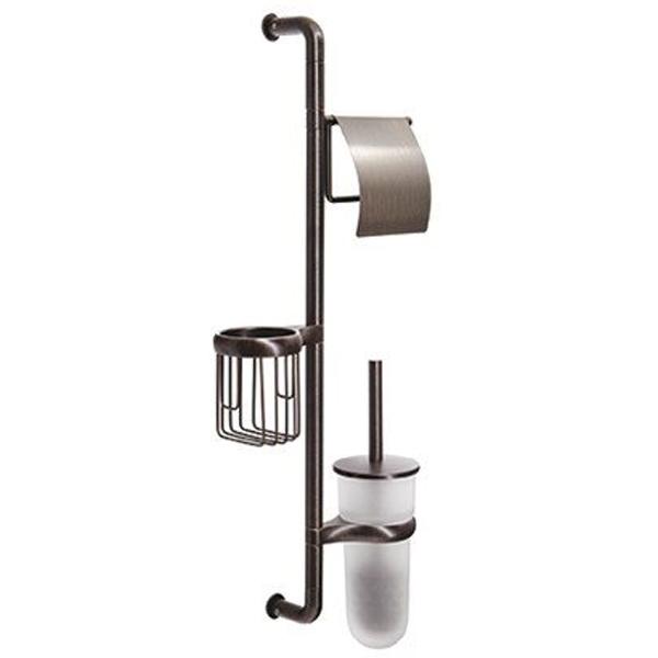 Isar K-1468 БронзаАксессуары для ванной<br>Стойка Wasser Kraft Isar K-1468 для ванной комнаты.<br>На стойке имеется держатель для туалетной бумаги, держатель для освежителя воздуха и ершик для унитаза.<br>Материал: металл, матовое стекло.<br>Размер: 27,6x9,5x69,3 см.<br>Особенности:<br>Простой монтаж благодаря встроенным винтам и внутренней резьбе. Пластиковые уплотнители обеспечивают плотное соединение металла.<br>Держатели для каждого изделия поворачиваются на 180 градусов. Размещение держателей возможно в любом порядке.<br>Съемная колба для ершика для легкого ухода за изделием. Между держателем и колбой расположена уплотнительная прокладка.<br>
