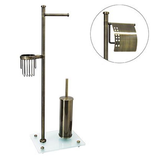 Exter K-1234 БронзаАксессуары для ванной<br>Стойка Wasser Kraft Isar K-1234 для ванной комнаты.<br>На стойке имеется держатель для туалетной бумаги, держатель для освежителя воздуха и ершик для унитаза.<br>Материал: металл, матовое стекло.<br>Размер: 37,5x22x83,3 см.<br>Особенности:<br>Простой монтаж благодаря встроенным винтам и внутренней резьбе. Пластиковые уплотнители обеспечивают плотное соединение металла.<br>Держатели для каждого изделия поворачиваются на 180 градусов. Размещение держателей возможно в любом порядке.<br>Съемная колба для ершика для легкого ухода за изделием. Между держателем и колбой расположена уплотнительная прокладка.<br>Регулируемые по высоте ножки, позволяющие компенсировать неровности пола.<br>
