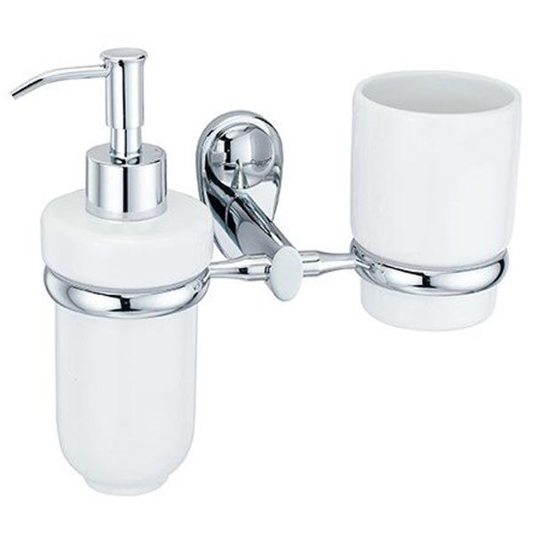 Main K-9289C БелыйАксессуары для ванной<br>Держатель стакана и дозатора Wasser Kraft Main K-9289C станет изысканной деталью вашей ванной комнаты.<br>Материал: керамика, металл.<br>Размер: 21,2x10,5x18,5 см.<br>
