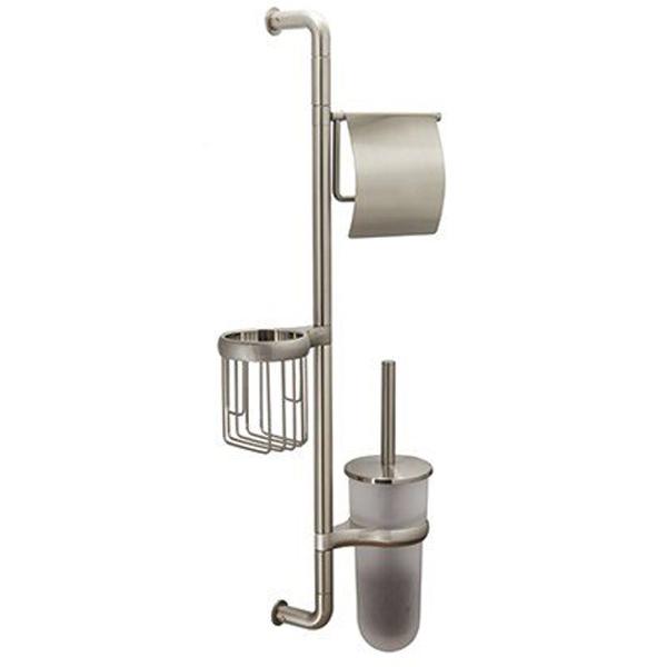 Ammer K-1448 ХромАксессуары для ванной<br>Стойка Wasser Kraft Ammer K-1448 для ванной комнаты.<br>На стойке имеется держатель для туалетной бумаги, держатель для освежителя воздуха и ершик для унитаза.<br>Материал: металл, матовое стекло.<br>Размер: 27,6x9,5x69,3 см.<br>Особенности:<br>Простой монтаж благодаря встроенным винтам и внутренней резьбе. Пластиковые уплотнители обеспечивают плотное соединение металла.<br>Держатели для каждого изделия поворачиваются на 180 градусов. Размещение держателей возможно в любом порядке.<br>Съемная колба для ершика для легкого ухода за изделием. Между держателем и колбой расположена уплотнительная прокладка.<br>