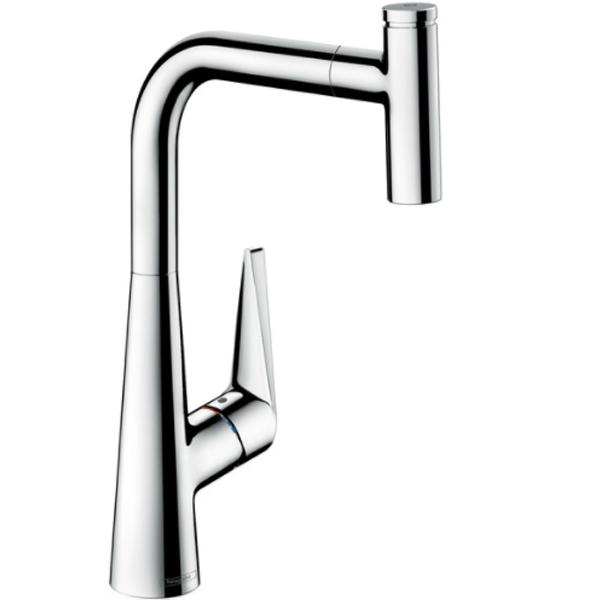 Talis Select S 300 72821000 ХромСмесители<br>Смеситель для кухни Talis Select S 300 72821000 с выдвижным изливом.<br>Особенности:<br>Выдвижной излив (длина: 50 см).<br>Поворот излива на 150 градусов.<br>Кнопка Select для быстрого включения и выключения воды.<br>Совместим с проточными водонагревателями.<br>Смеситель может монтироваться близко к стене.<br>Система защиты от известкового налета.<br>