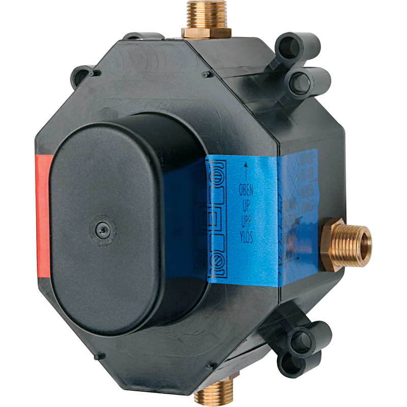 1286 G 1/2Смесители<br>Внутренняя часть для встраиваемого смесителя Oras 1286 для ванны и душа.<br>Унифицированный корпус.<br>Наружная резьба: G 1/2 (4 шт).<br>Расход воды при 300 kPa: 0,3 л/с.<br>Подключение горячей воды: максимум 80 градусов.<br>Рабочее давление: 50-1000 kPa.<br>Уровень шума: I (ISO 3822).<br><br>В комплекте поставки:<br>внутренняя часть для встраиваемого смесителя.<br><br>