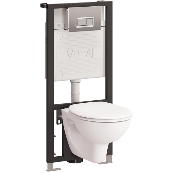 Arkitekt 9005B003-7212 с сиденьем и кнопкой смыва ХромУнитазы<br>Комплект унитаза с инсталляцией Vitra Arkitekt 9005B003-7212.<br>Лаконичный и универсальный дизайн этой модели прекрасно впишется в интерьер любого санузла.<br>Особенности: <br>Соответствует европейским стандартам,<br>Унитаз изготовлен из сантехнического фарфора. Этот материал не впитывает грязь и сохраняет белизну долгие годы.<br>В комплекте поставки: <br>Чаша унитаза,<br>Крышка-сиденье стандарт,<br>Инсталляция Vitra 742-5800-01 со скрытым бачком (3/6 л),<br>Кнопка смыва Хром.<br>