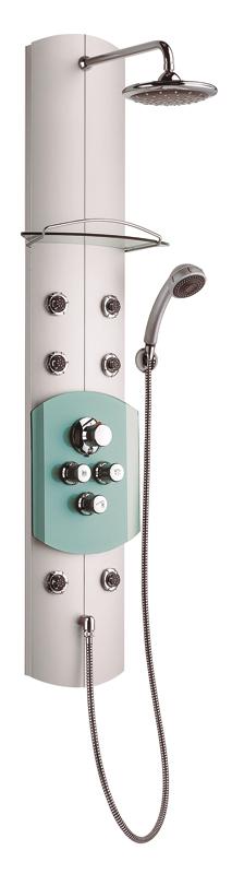 Totem JET JetДушевые панели<br>Панель Jet имеет проверенную конструкцию, в дополнение к фиксированному и ручному душу имеет форсунки для массажа верхней и нижней частей тела, которые можно включать по отдельности.<br>Оснащена термосмесителем с функцией защиты детей и может быть установлена либо на стену, либо в угол.<br>