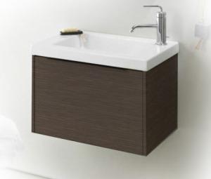 XS EB466-NR темный дубМебель для ванной<br>Jacob Delafon XS EB466-NR подвесная тумба под раковину. Тумба изготавливается с выдвижным ящиком на доводчиках, ручка в цвете матовый хром.<br>